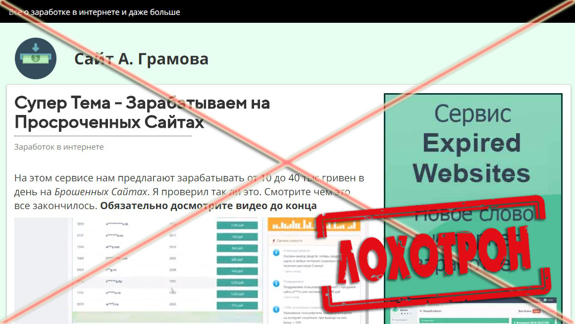 Лохотрон Expired Websites отзывы